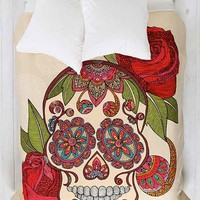 Valentina Ramos For DENY Sugar Skull Duvet Cover- Cream