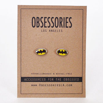 Batman Earrings Batman Logo Bat-Signal Comic Book Movie TV Cartoon Stud Earrings Batman Jewelry Batman Accessories Batman Gift Idea For Her