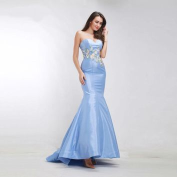 Blue Evening Dresses Mermaid Sweetheart Appliques Luxury Prom Party Gowns Simple Long Gowns
