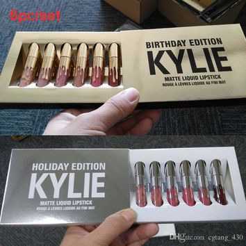 Kylie Jenner Valentine & holiday & Birthday Edition Lip Kit Matte Liquid Lipsticks 6pcs set mini kylie lipgloss kit DHL