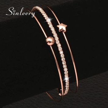 SINLEERY Simple 3 Layer Bracelet Set Rose Gold Color Women 2017 New Fashion CZ Stone Lucky Star Bangle  Sl257