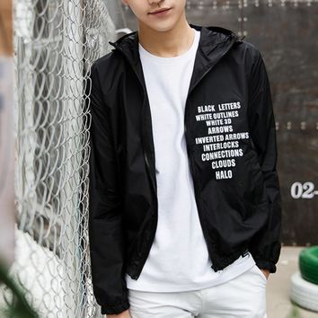 College summer girl cardigan hooded letters printed thin coat high school students tide licensing sun clothing