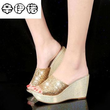 2018 new women gladiator sandals ladies pumps high heels shoes woman glitter gold sequins casual Wedges shoes silver black