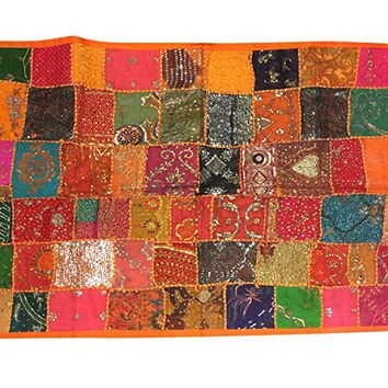 "Mogul Wall Tapestry Handmade Beaded Patchwork Orange Table Runner Throw 60""X 40 """