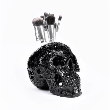 Skull, Painted Skull, Makeup Assessories, Painted Skull, Human Skull, Skulls, Black Skull, Makeup Brush Holder, Gold Skull, Tribal Skull,