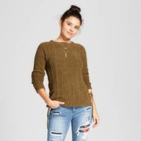 Women's Lace-Up Sleeve Chenille Sweater - Xhilaration™ (Juniors')