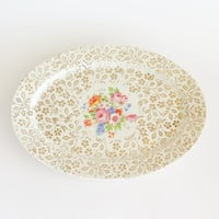 ATLAS CHINA Gilded Floral Oval Serving Platter Tray