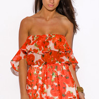 ORANGE RED TOMATO PRINT CHIFFON RUFFLE OFF SHOULDER BOHO SUMMER PARTY ROMPER JUMPSUIT