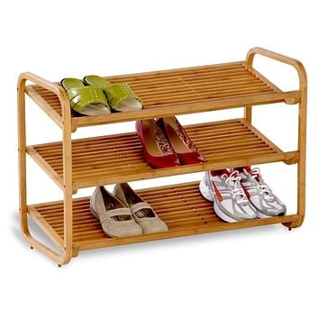 3-Tier Bamboo Shoe Rack Shelf - Holds 9-12 Pairs of Shoes