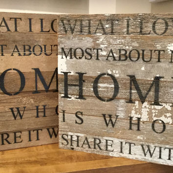 "What I love most about my home is who I share it with. - Reclaimed Wall Art 14""x14"" -White"