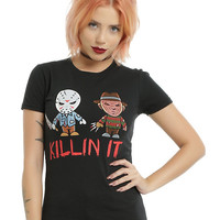 A Nightmare On Elm Street Friday The 13th Killin It Girls T-Shirt