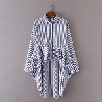 Fashion Women sweet ruffles striped shirts Casual Long sleeve Blouses vintage chic Loose Tops chemise femme blusas S2126