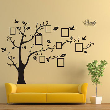 Family Picture Photo Frame Tree Wall Art Stickers Vinyl Decals Home Decor Black