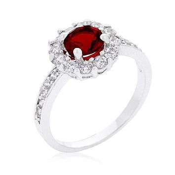 WildKlass Garnet Halo Engagement Ring