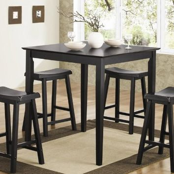 5pc Counter Height Dining Table and Stools Pub Set in Black Finish