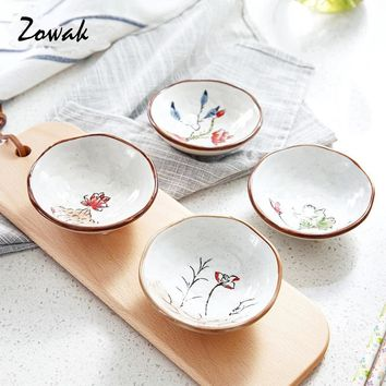 1pc Sauce Dish Porcelain Plate Sushi Soy Plate Ceramic Dessert Snack Dipping Sauce Wasabi Bowl Handpaint Flower Dinnerware Tool