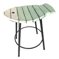 Seafoam Green and White Curved Slatted Fish Stool 20-in