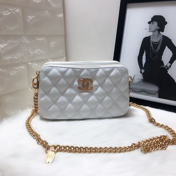 HCXX 19June 635 Double bag classic Embossing Chain Sigle Shoulder Bag 26-15.5-9.5 white