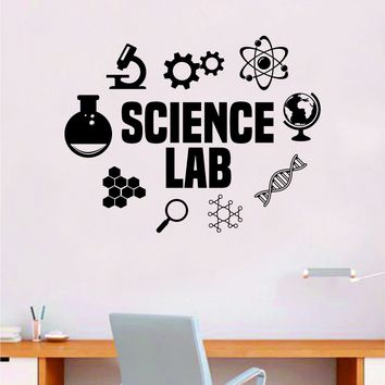 Science Lab Quote Decal Sticker Wall Vinyl Art Home Room Decor Teacher School Classroom Work Job Smart Learn Chemist