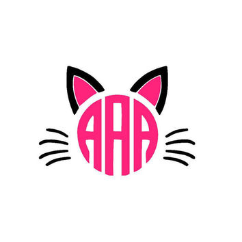 Cat Monogram Decal - Cat Sticker - Yeti Monogram - Car Decal - Kitten - Kitty Kat - Custom Decal - Monogram Sticker - Glitter - Any Color