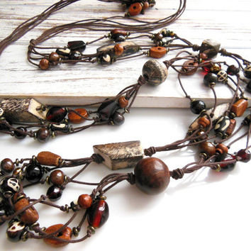 Vintage Extra Long Chunky Brown Glass & Wood Cluster Bead Bohemian Necklace