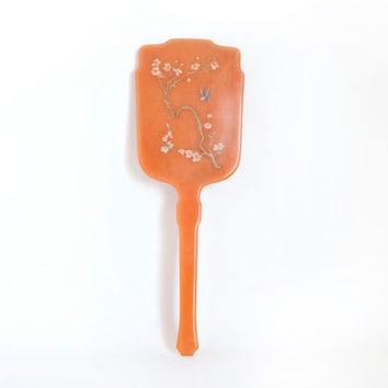 "Vintage DuPont ""Blossom"" Orange Hand Mirror, Asian Bird Print Plastic Hand Held Vanity Mirror"
