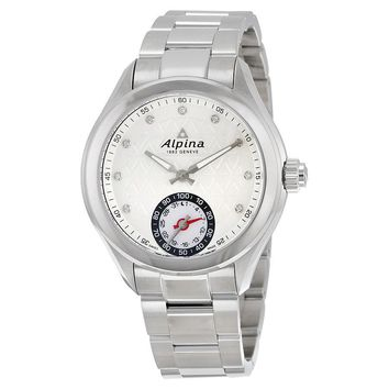 Alpina Horological Smartwatch Silver Guilloche Dial Steel Case Ladies Watch