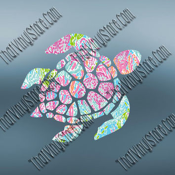 Sea Turtle Vinyl Decal | Preppy Pattern Sea Turtle Decal | Turtle Vinyl Decal | Preppy Animal Decal | Love Animal Decal | 570