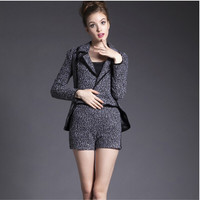 Grey Notched Long-Sleeve Asymmetrical Shirt With Paired Shorts