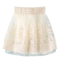 Sheinside Women's Beige Floral Embroidery Organza Skirt (One Size, Beige)