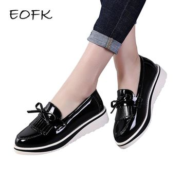 EOFK Flat Shoes Women Black Patent Leather Slip On Fringe Sweet Woman Casual Loafers Women's Flats platform Shoes