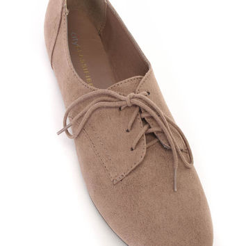 Light Cement Faux Suede Shoe Laces Flats