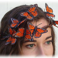 Autumn Orange Monarch Butterfly Crown