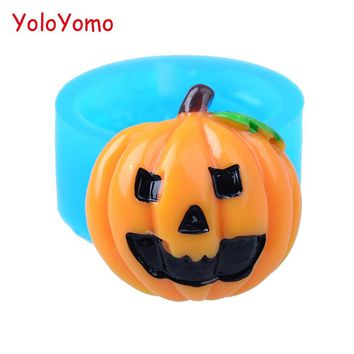 J128YL 25.3mm Halloween Pumpkin Silicone Mold - Sugarcraft, Fondant, Cupcake Topper, Gum Paste, Cookie Biscuit, Resin Fimo Clay