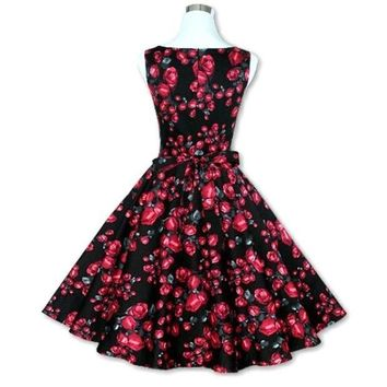 ESBONC. Sexy Women's Vintage 50s 60s Floral Rockabilly Tutu Pinup Sleeveless Bodycon Evening Party Clubwear Formal Dress