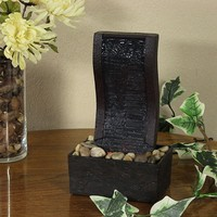 Curved Stream Tabletop Fountain with LED Lights