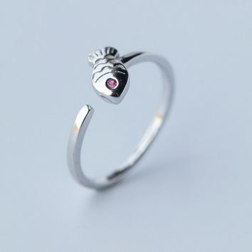 Lovely small fish 925 sterling silver ring,a perfect gift