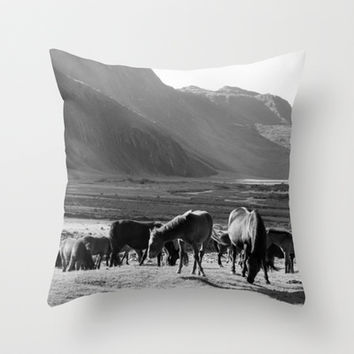 Horses Throw Pillow by Avigur