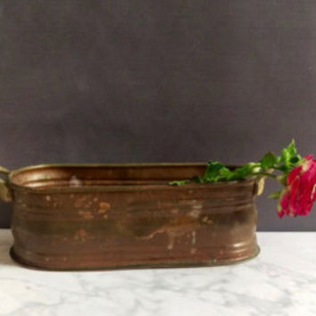 Rustic Copper Planter/ Primitive Copper Planter/ Oblong Planter/ Succulent Copper Planter/ Handmade Turkish Copper Planter/ Herb Garden