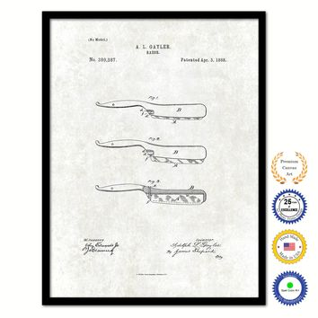 1888 Barber Razor Vintage Patent Artwork Black Framed Canvas Print Home Office Decor Great Gift for Barber Salon Hair Stylist