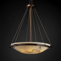 Justice Design Group FAL-9692-35-DBRZ LumenAria 24-Inch Round Bowl Pendant with Ring