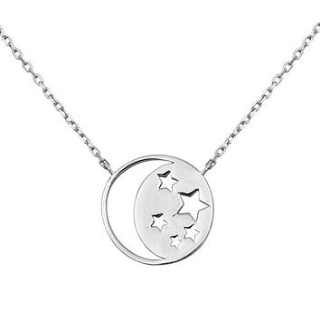 "Italian Sterling Silver ""To The Moon & Back"" Pendant Necklace"
