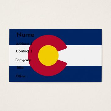 Business Card with Flag of Colorado, U.S.A.