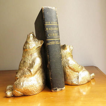 Vintage Brass Bear Bookends Brass Bookends Gold Bear Book Ends Woodland Bookends
