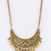 Tribal Fringe Coin Antique Gold  Statement