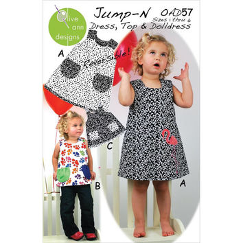Jump-N, Dress, Top and Doll Dress Pattern, size 1-6