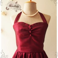 BLOOM : Burgundy dress wine dress vintage inspired christmas party dress prom dress evening dress bridesmaid dress - size XS-XL