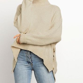 Polly Beige Turtleneck Sweater