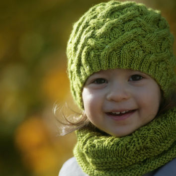GREEN SNAKE hat knitting pattern - baby toddler child teen adult sizes - fall fashion