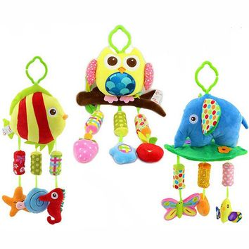 Quality Soft Baby plush Stroller baby toys lathe hang wind chime rattles bell baby Bed toys stuffed Cartoon Animal gift